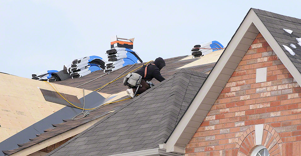 Roofer On The Job