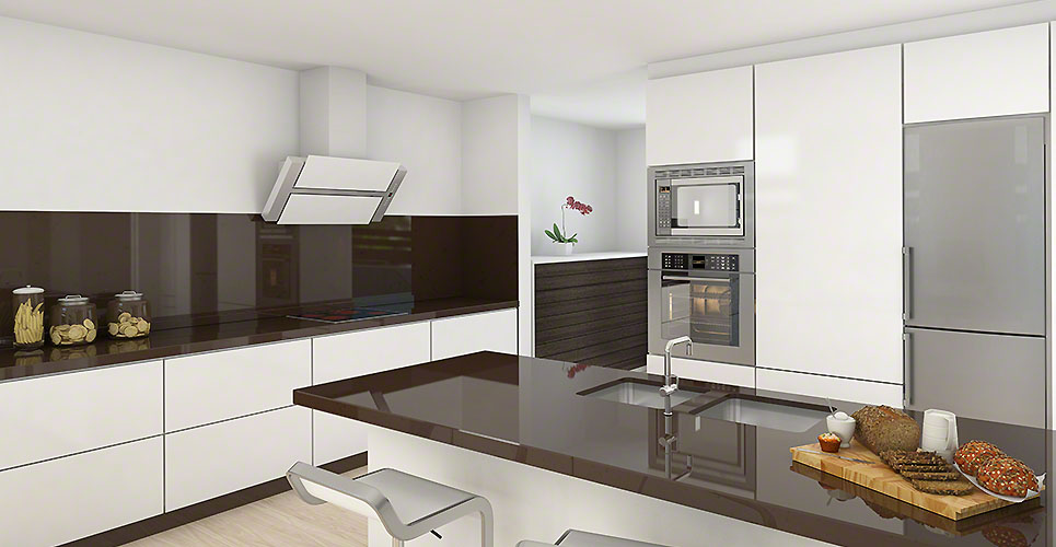Modern kitchen white and brown