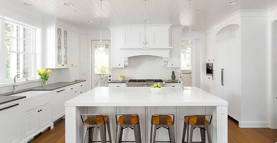 White Kitchen with Island in New Luxury Home