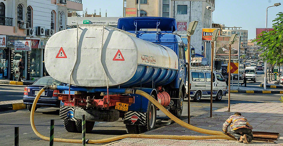 Sewerage truck on street working. Hurghada. Egypt